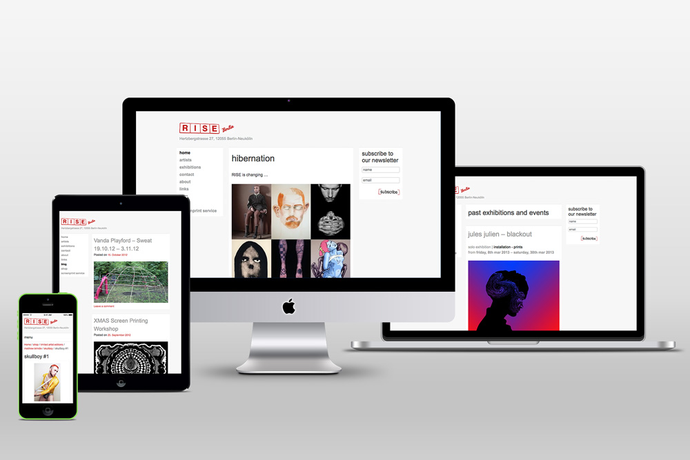 Galerie RISE Berlin – Webportal